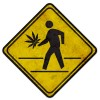 Weeds Pedestrian Crossing Metal Sign